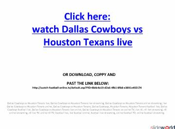 Dallas Cowboys vs Houston Texans Live streaming on online in NFL Regular Season