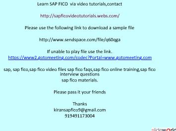 SAP FICO VIDEO TUTORIALS