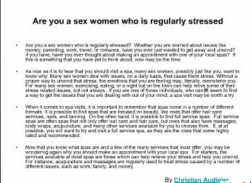 Are you a sex women who is regularly stressed
