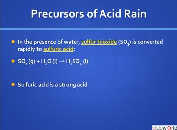 precusors to acid Rain ENV 110 Introduction