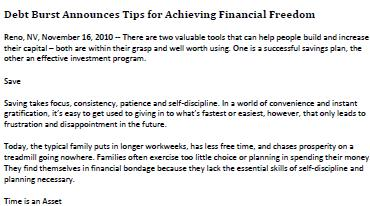 Debt Burst Announces Tips for Achieving Financial Freedom