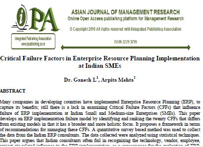 Critical Failure Factors in Enterprise Resource Planning Implementation at Indian SMEs