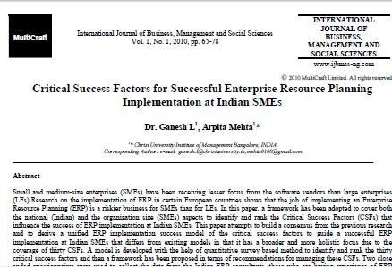 Critical Success Factors for Successful Enterprise Resource Planning Implementation at Indian SMEs