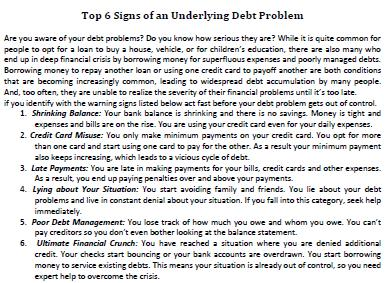 Top 6 Signs of an Underlying Debt Problem