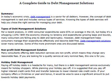 A Complete Guide to Debt Management Solutions