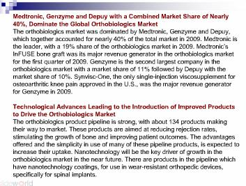 Global Orthobiologics Pipeline Analysis, Opportunity Assessment and Market Forecasts to 2016