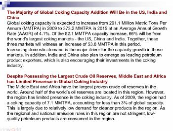 Global Refinery Coking Units - Market Analysis, Capacity Forecasts and Competitive Landscape to 2015