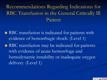 Physiological triggers for  blood  transfusion in ICU