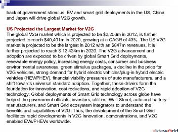 Vehicle-to-Grid (V2G) - Global Market Analysis and Forecasts to 2020