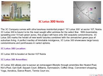 3C LOTUS 300 - 3C LOTUS 300 NOIDA - 3C LOTUS 300 - 3C LOTUS 300