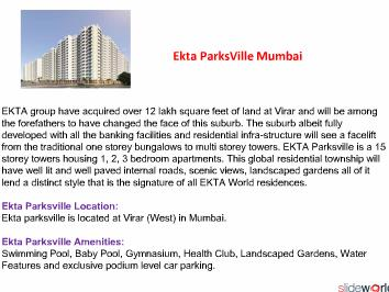 EKTA PARKSVILLE - Ekta Parksville Mumbai - Ekta Parksville