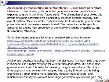 Wind Generators - Global Market Size, Regional Analysis, Market Shares and Competitive Benchmarking to 2020