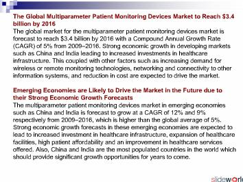 Multiparameter Patient Monitoring Market to 2016 