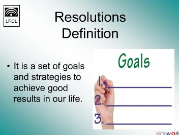 Resolution 2011 - Goals  Plans
