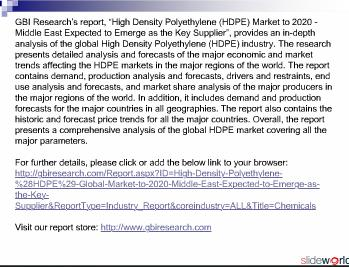 High Density Polyethylene (HDPE) Global Market to 2020
