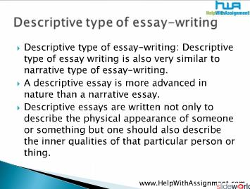 Writing Different Types of Essays – like narrative, descriptive, persuasive