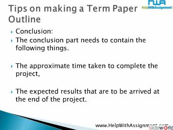 Tips on making a Term Paper Outline