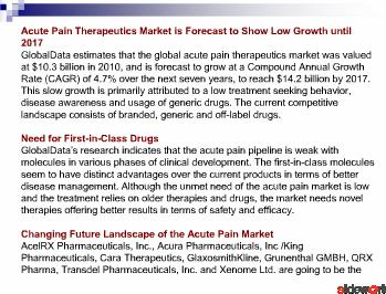 Acute Pain Therapeutics - Pipeline Assessment and Market Forecasts to 2017