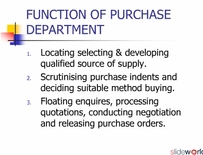 role and importance of purchase department in hospitality