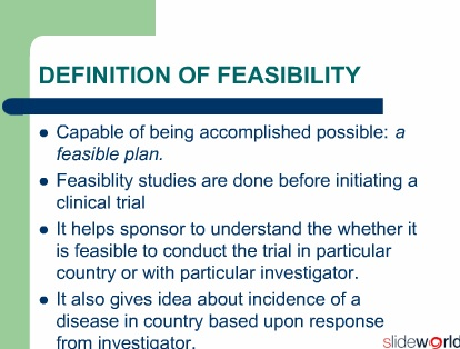 Feasibility study for clinical trial