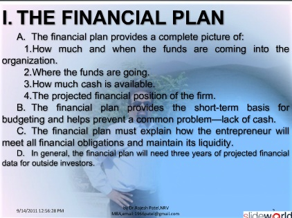 financial plan for new enterprise