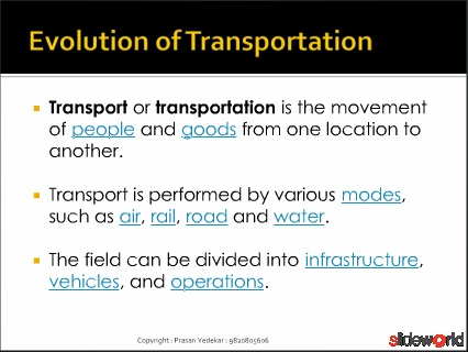 Logistics - Evolution of Transportation