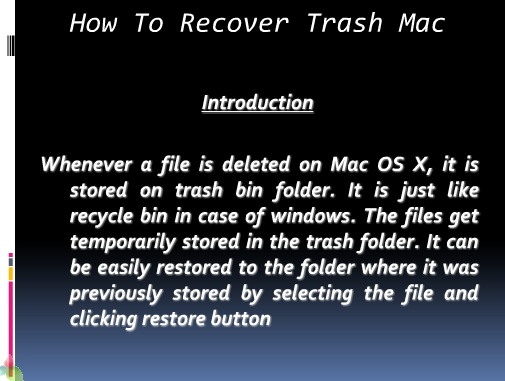 Restore Deleted Files on Mac