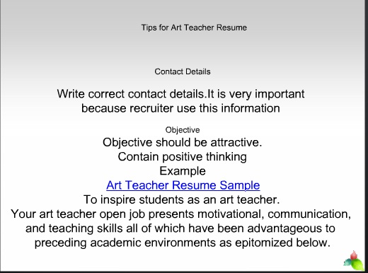 Resume tips on Art educator resume