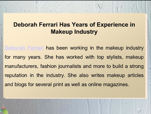 Deborah Ferrari - Nude Makeup Recommendations 