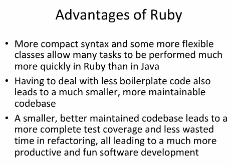 Developers view: Ruby vs. J2EE
