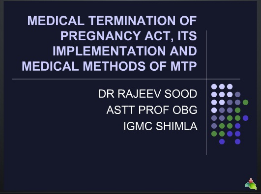 MEDICAL TERMINATION OF PREGNANCY ACT AND MEDICAL METHODS OF ABORTION