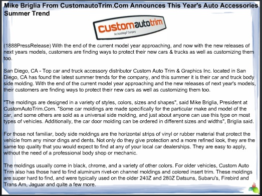 Mike Briglia From CustomautoTrim.Com Announces This Year