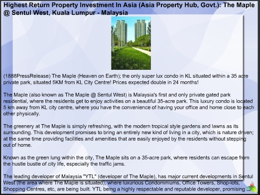 Highest Return Property Investment In Asia (Asia Property Hub, Govt.): The Maple @ Sentul West, Kuala Lumpur - Malaysia 