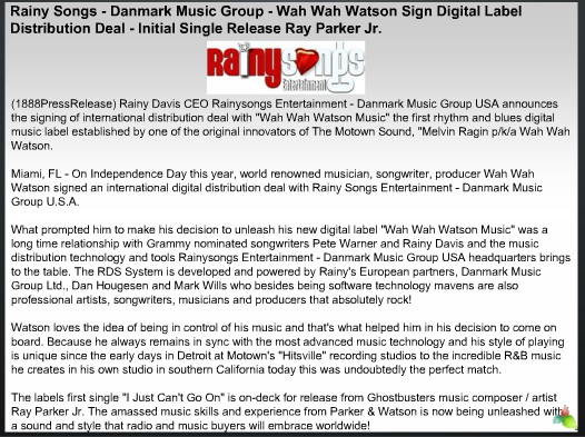 Rainy Songs - Danmark Music Group - Wah Wah Watson Sign Digital Label Distribution Deal - Initial Single Release Ray Parker Jr. 