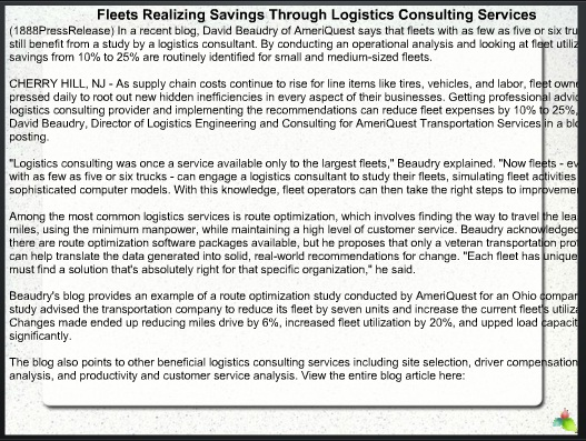 Fleets Realizing Savings Through Logistics Consulting Services