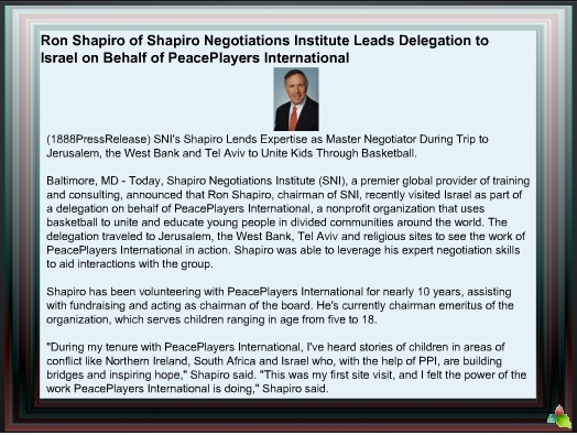 Ron Shapiro of Shapiro Negotiations Institute Leads Delegation to Israel on Behalf of PeacePlayers International 