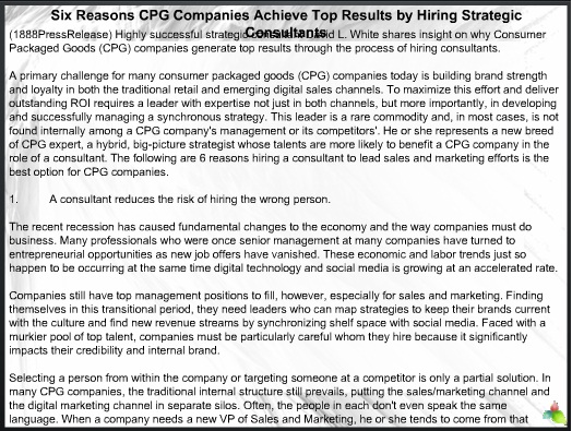 Six Reasons CPG Companies Achieve Top Results by Hiring Strategic Consultants 