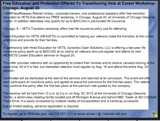 Free Education and Protection Offered To Transitioning Vets at Career Workshop-Chicago, August 20 