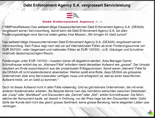 Debt Enforcement Agency S.A. vergrossert Servicleistung