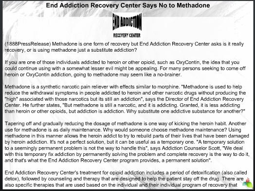 End Addiction Recovery Center Says No to Methadone