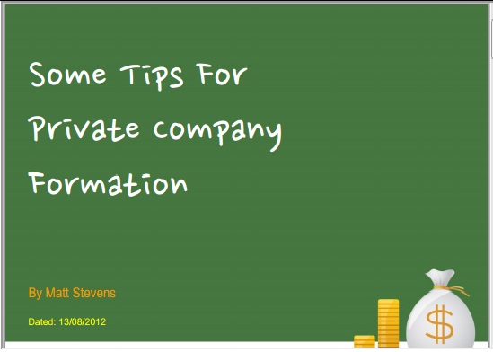 Some Tips For Private Company Formation