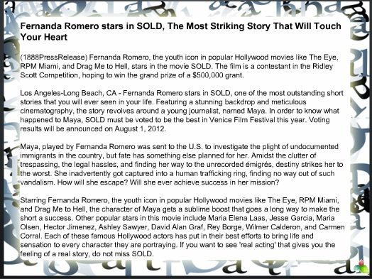 Fernanda Romero stars in SOLD, The Most Striking Story That Will Touch Your Heart 