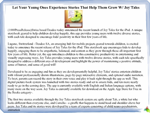 Let Your Young Ones Experience Stories That Help Them Grow W/ Joy Tales