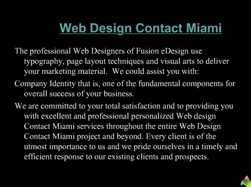 Web Design Contact Miami