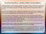 Good Food Good Mood - a Nutritional Bible for Anxiety Sufferers