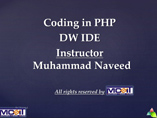 php coding in dreamweaver cs