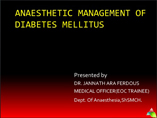 anaesthetic management of diabetic patient
