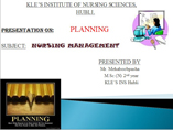 planning in Nursing management