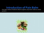 Herbal Products Pain Balm by Ayurvedic Medicine Sahul powerpoint presentation