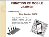 FUNCTION OF MOBILE JAMMER powerpoint presentation